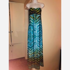 Pretty Multi Colored Tribal Design Maxi Dress xs